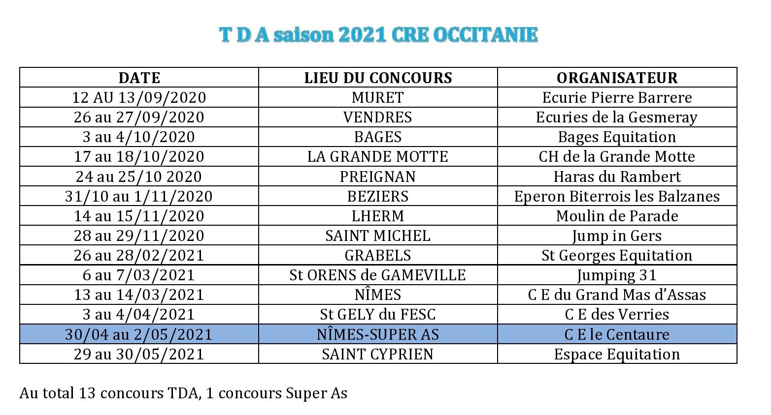 Calendrier TDA saison 2021 Occitanie   Comité Régional d